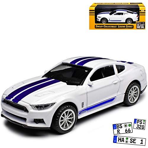 Shelby Ford Mustang VI Coupe Mittel Weiss mit Blau Streifen Ab 2014 1/43 Collectibles Modell Auto mit individiuellem Wunschkennzeichen