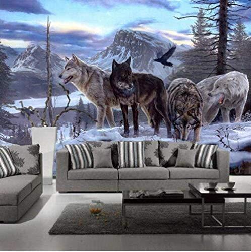Vliestapete 3D Tiere & Wölfe Mauer Fresco Foto Fernseher Sofa Hintergrund Seide Wandmalerei,Kunst Tapeten für Wohnzimmer Schlafzimmer Einrichtung 400cm(W) x280cm(H)-8 Stripes