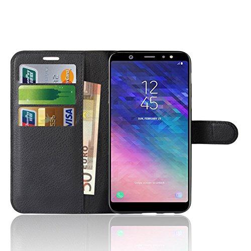 Samsung Galaxy A6 Plus 2018 Custodia, Anzhao Flip Cover Portafoglio con Slot per Schede Protettiva Custodia in Pelle per Samsung Galaxy A6 Plus 2018 (Nero)