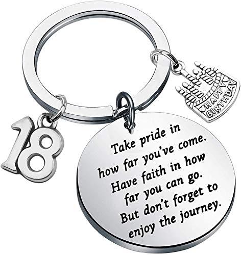Portachiavi per compleanno, regalo per 18° compleanno, per figlio, figlia, compleanno, amicizia, famiglia, compleanno e Acciaio inossidabile, colore: Argento