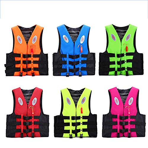 Chaleco Salvavidas Niños Adultos Nadando Chaleco Dispositivo de flotabilidad con Silbato Salvavidas y Reflector Nocturno. Utilizado para Kayak, Remo, embarque y Pesca,Verde,S(130~140CM