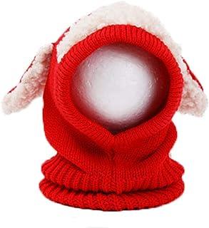 JJSPP Autumn Winter Warm Cute Baby Knit Beanie Sheep Hat Cotton Scarf Earflap Knitted Cloaks Woollen Caps