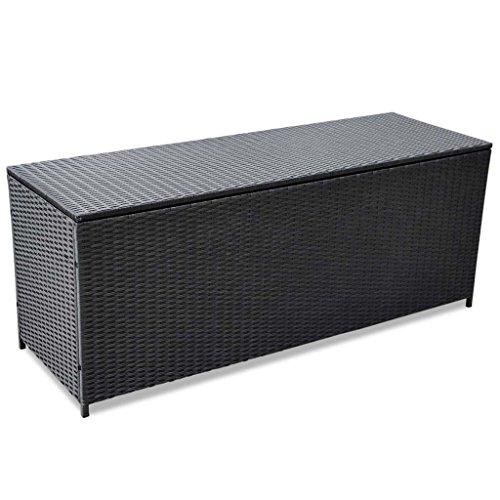 Festnight Boîte de Rangement d'extérieur résine tressée + Cadre en Acier Enduit de Poudre Noir 150x50x60 cm