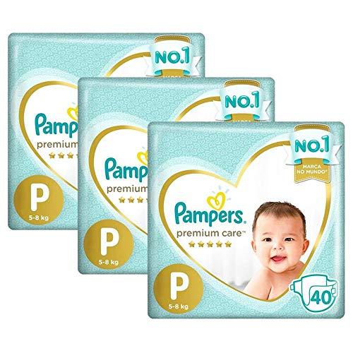 Kit Fralda Pampers Premium Care Mega Tamanho P 120 Unidades