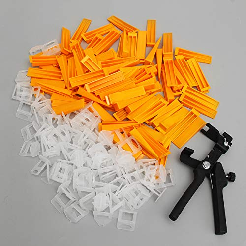 MJJEsports 201pcs 2mm tegel nivellering afstandhouders systeem Set 100 Clips + 100 Wedges + Plier Tiling Spacer