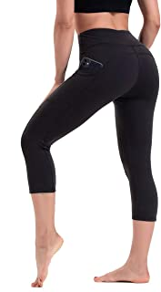 HLTPRO Capris Leggings with Pockets for Women - High Waist Tummy Control 4 Way Stretch Workout Fitness Yoga Pants