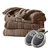 Sunbeam Channeled Velvet Plush Electric Heated Blanket King Cocoa