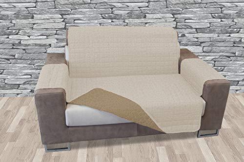 Banzaii Funda Sofá Acolchada – Cubre Sofá Reversible con Efecto Moteado – 3 plazas Crema/Arena para Asiento de 170 a 195 cm