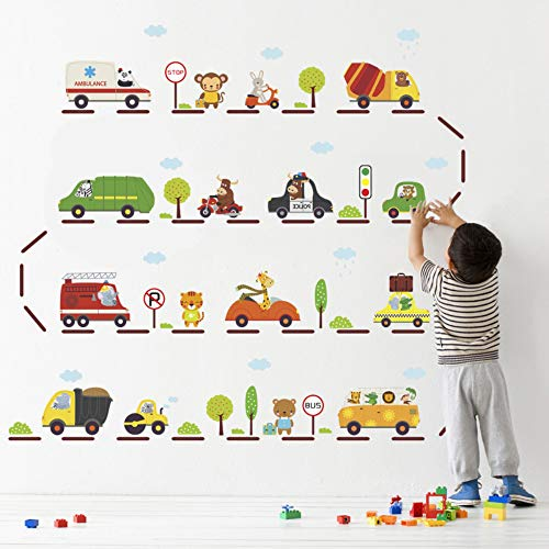 Funny Auto Bus Station 30 * 90Cm Muurstickers Kids Kamers Kwekerij Home Decor Cartoon Dieren Muurstickers Posters PVC muurschildering Kunst