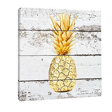 K-Road Pineapple Canvas Prints Framed Wall Art Vintage Picture Painting Wood Texture Room Decor 12 x 12in (Gold)