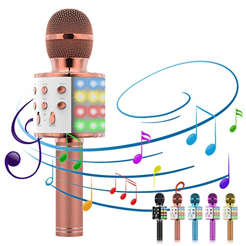 Karaoke Microphone, 5-in-1 Microphone for Kids Portable Handheld Bluetooth Microphone, Microphone for Singing with LED Speaker Player Recorder Kids Microphone for gifts/Adults/Home KTV (Rose Gold)