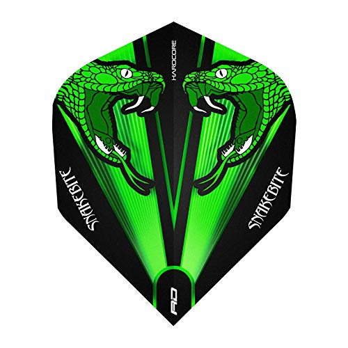 RED DRAGON Hardcore Peter Wright Snakebite Grün Transparent Dart Flights - 3 Sätze pro Packung (9 Flights insgesamt)