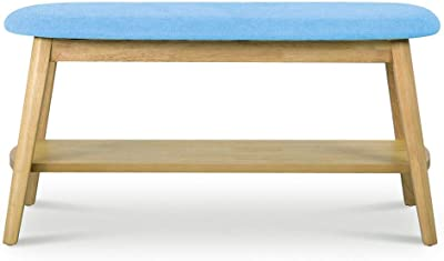 Phenomenal Amazon Com Retro Style Solid Wood Bench With Upholstered Unemploymentrelief Wooden Chair Designs For Living Room Unemploymentrelieforg