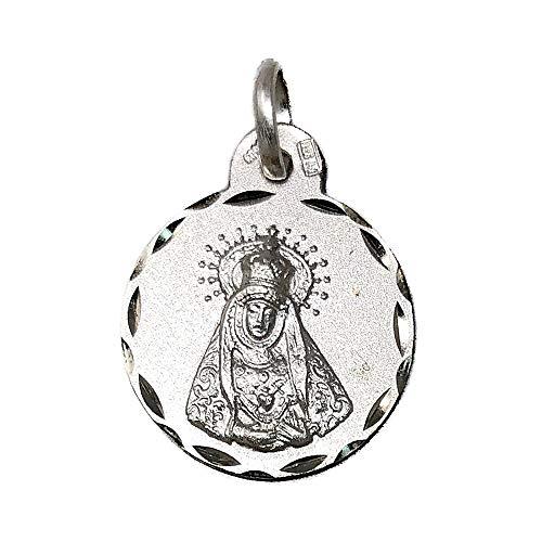 Medalla Plata Ley 925M Virgen De Los Dolores 17mm. Cerco Tallado - Personalizable - Grabación Incluida En El Precio
