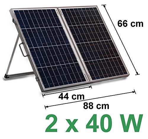 12V Solarkoffer 2 x 40W Laderegler 10A Solar Modul Zelle 80W Solarpanel Wohnmobil Solarmodul Solarzelle Camping Garten USB