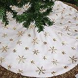 Falda de árbol de Navidad Geboor 31 pulgadas Falda de árbol de copo de nieve de oro de piel sintética Decoraciones navideñas Adornos navideños de árbol de felpa gruesa de vacaciones (dorado)