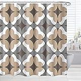 BROSHAN Bohemian Pattern Shower Curtain, Boho Moroccan Geometric Design Bathroom Decor Set, Taupe and Brown Shower Curtain Fabric Washable 72 x 72 inch