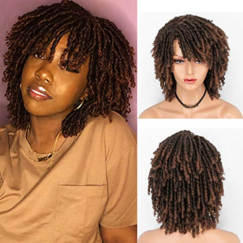 Persephone 2021 New Short Dreadlock Wig for Black Women Fashion Roll Twist Wigs Synthetic Afro Curly Braided Wigs 1B/30