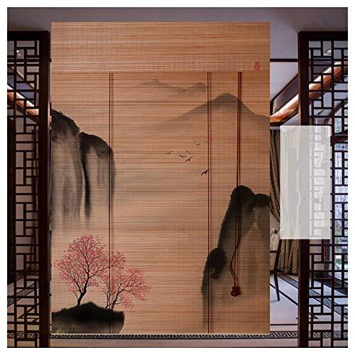 CHAXIA Bamboe blind bamboe blind woonkamer opknoping afbeelding scheidingswand achtergrond decoratie print gordijn tegen de zon, 2 soorten verschillende maten beschikbaar
