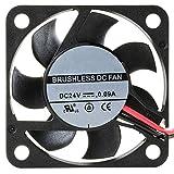 NTE Electronics 77-4010D24 High Speed Fan, Ball Bearing, Thermal Plastic Wire Lead, 40 mm L x 40 mm H x 10 mm T, 24 VDC, 7000 RPM, 7.73 CFM
