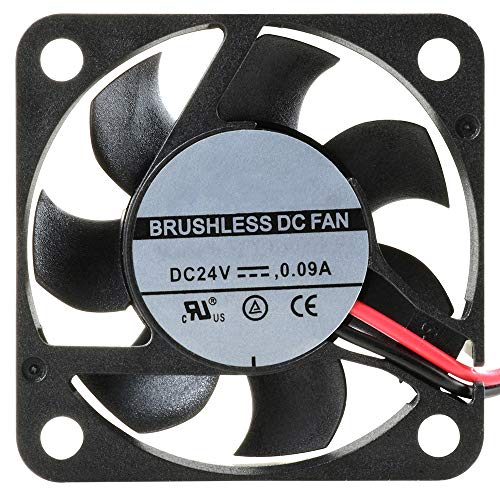 NTE Electronics 77-4010D24 High Speed Fan, Ball Bearing, Thermal Plastic Wire Lead, 40 mm L x 40 mm H x 10 mm T, 24 VDC, 7000 RPM, 7.73 CFM
