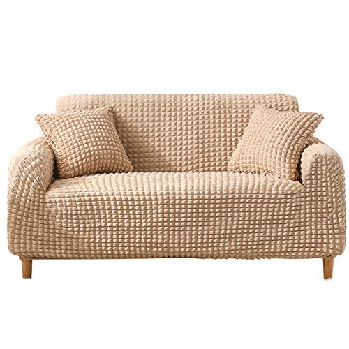NOBCE Funda de sofá elástica Estirada Envoltura Ajustada Fundas de sofá Todo Incluido para Sala de Estar Funda de sofá Silla Funda de sofá Funda de Almohada Beige 190-230CM