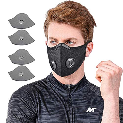 QILU Best Face Mask for Glasses Wearers - Black Cotton Mask - Masks with Filter - Mask with Filter - Black Mask for Coronɑvịrus Protection