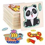 Faburo 16 Puzzles Tiere aus Holz, Baby-Puzzle zum Einbau, Spielzeug Montessori, Lernspielzeug für Kinder 2, 3, 4, 5 Jahre