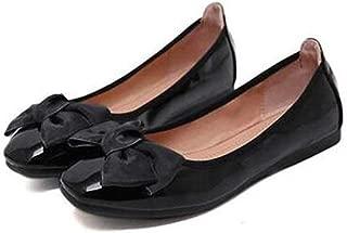 Bow Red Wine Patent Leather Kawaii Wedding Ballet Shoes Designer Big Women Ballerina Flats Square Toe Large Size Walking