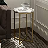 Walker Edison Furniture Company Modern Round Side End Accent Table Living Room,...