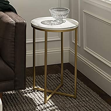 Walker Edison Furniture Company AZF16ALSTMGD Modern Round Side End Accent Table Living Room, Marble/Gold