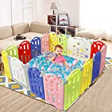 """Playpen for Babies, 16 Panel Baby Playpen, Foldable Baby Play Yards, Play Pens for Babys, Safety Play Yard, Kids Childs Activity Play Centre for Indoor Outdoor, 68.3""""x54.6', Multi Color"""