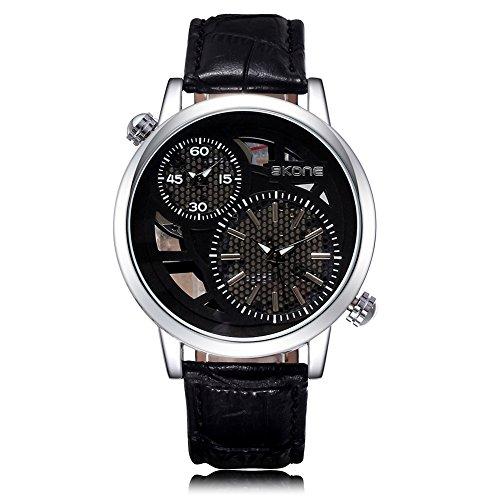 SKONE Herren Dual Time Display Uhr Schwarz Zifferblatt PU Leder Band (schwarz)