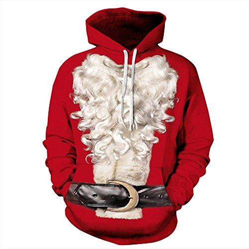 KOLY Donne Uomini Barba bianca di Natale Felpa con stampa Santa Xmas 3D Camicetta Maglietta Pullover Felpe con cappuccio Jumper divertente stampato grafico Pullover Felpe tasche (Red, XL)