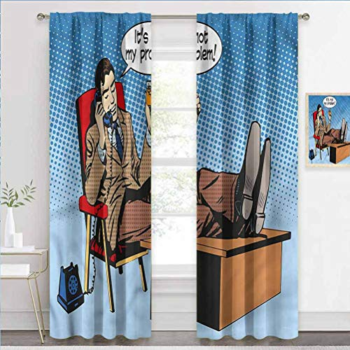 painting-home Decorative Blackout Curtains Retro, Pop Art Business Man Blackout Draperies and Drapes Perfect for Any Room W63 x L45 Inch