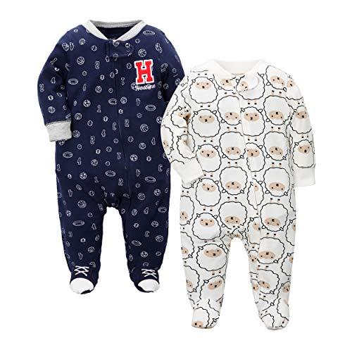 CARETOO Baby Unisex Strampler Baumwolle mit Reißverschluss - 0-24 Monate