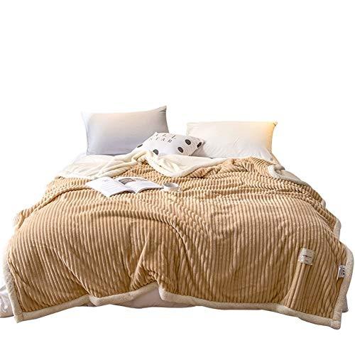YanHui-LZC Acogedor Invierno Cordero Doble Capa de Inicio Manta Espesa el Calentamiento Polar de Coral Sofá Colcha edredón Oficina Mantas para sofá, sofá y Cama (Color : Camel, Size : 150x200cm)