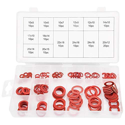 Akozon Unterlegscheiben 150 stücke 14 Größen Rot Stahl Papierfaser Flache Unterlegscheiben Kit Isolationswascher Sortiment Set mit Aufbewahrung flach Fall Box