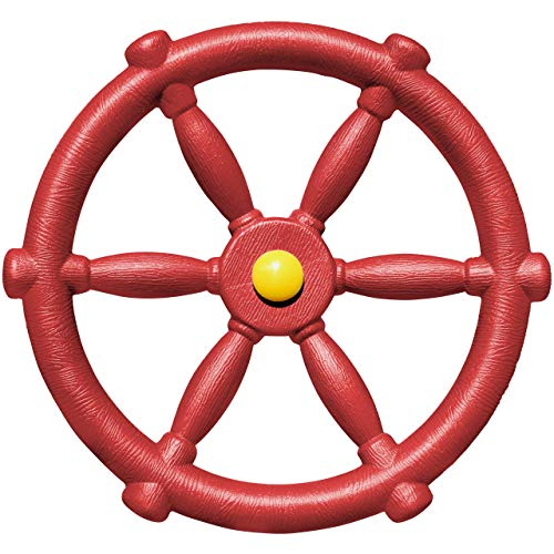 Jungle Gym Kingdom Playground Accessories - Pirate Ship Wheel for Kids Outdoor Playhouse, Treehouse, Backyard Playset Or Swingset - Wooden Attachments Parts (Red)