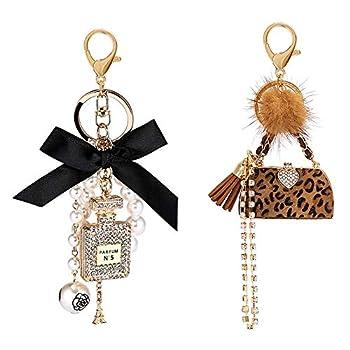 Allnice Women Keychain 2 Pack Perfume Bottle Diamond Keychain + Leopard Keychain Bow-Knot Pearl Handbag Personalised Keyring Golden Cute Keyrings for Women Girls Car Key Ring Crafts Bags