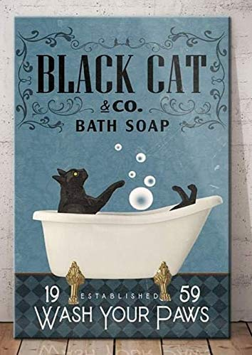 Robina Fancy Black Cat Bath Soap Established Wash Your Paws Poster Gifts for Women