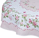 AdonisUSA Rose Decorative Printed Polyester Round or Rectangle Tablecloth Water Resistant Fabric Table Cover for Dining Room and Party (155 cm ≅ 60 inch Round)