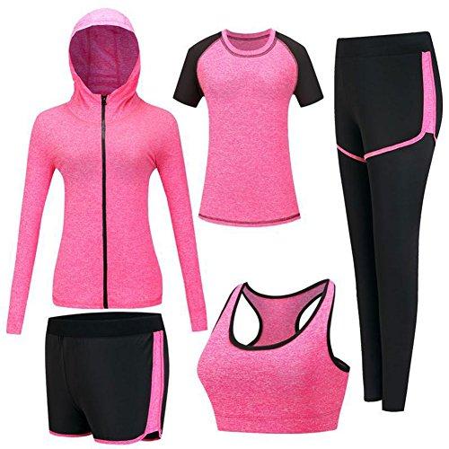 Zetiy Femmes 5 Pièces Ensembles Sportswear Costumes de Sport Gym Yoga Athletisme Fitness Jogging Survêtement (Rose rouge, X-Large)