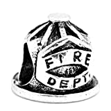 Sexy Sparkles Fire Dept. Fire Fighter Cap Charm Bead for Snake Chain Charm Bracelet
