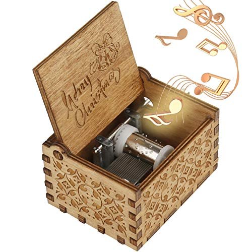 ukebobo Wooden Music Box – Merry Christmas Music Box, Gifts for Kids, Gifts for Friends, Gift for Woman - 1 Set