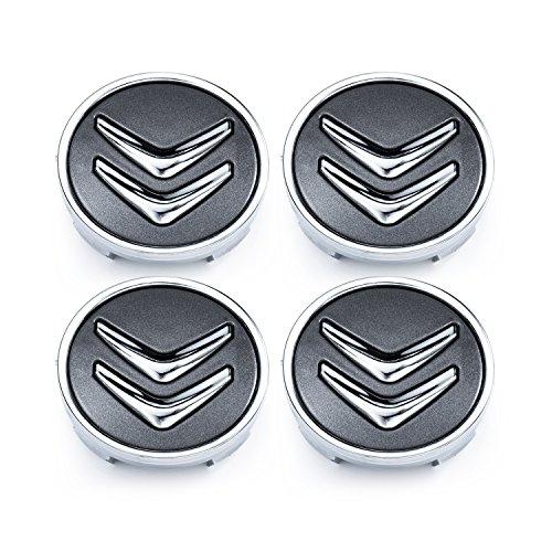 Meow Star Citroën 60mm 4Pac Llantas Aluminio Conector buje C2C4C5C6C de Cuatro Gris Cromo Logo