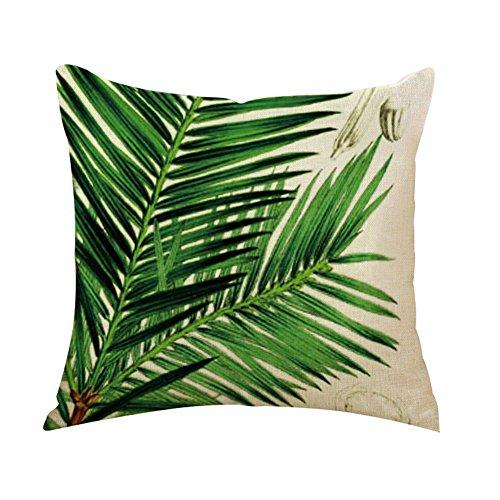 Outflower Funda de cojín con diseño Impreso de Hojas y Plantas Tropicales (45 x 45 cm), para Dormitorio, salón, Oficina, Coche o sofá, d, 45 x 45 cm