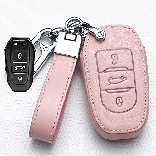CEAeis Funda de Cuero para Llave remota de Coche, para Peugeot 301 308S 408508 2008 3008 4008 5008, para Citroen C4 Picasso DS3 DS4 DS5