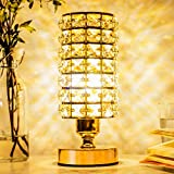 VinGab Lámpara de mesa de cristal Elegante mesita de noche con pantalla de cristal dorado Lámpara...