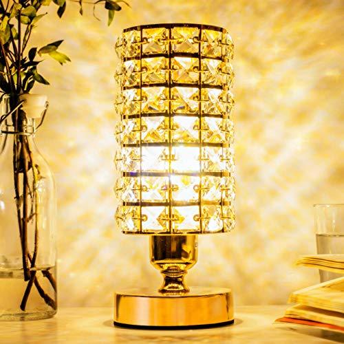 VinGab Lámpara de mesa de cristal Elegante mesita de noche con pantalla de cristal dorado Lámpara decorativa de mesita de noche para dormitorio, sala de estar, vestidor (bombilla de 5 W incluida)